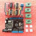 1 компл. ЧПУ Щит Плата Расширения для Arduino 3d-принтер + 4 x A4988 Драйвер Шагового Двигателя с Радиатором + micro usb UNO R3