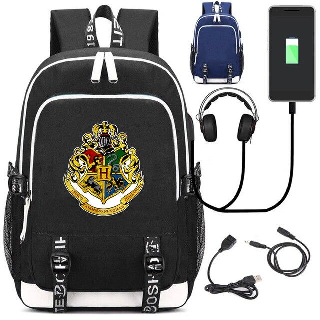 Рюкзак Гарри Поттер Эмблемы USB зарядка в подарок 3