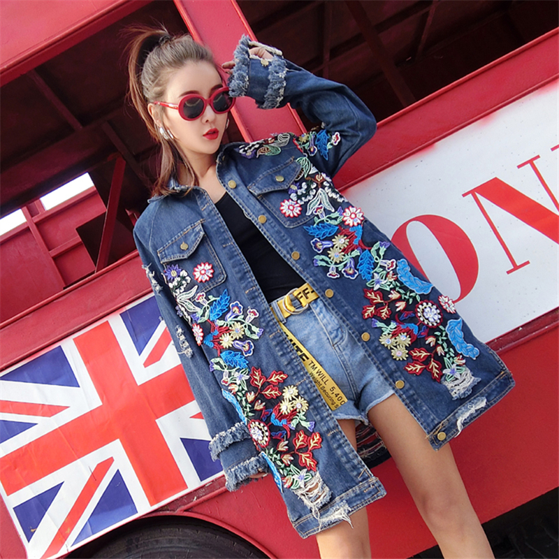 New Clothing Autumn Embroidered Streetwear Denim   Trench   Coat Women 2019 Fashion Slim Long Jean Windbreaker Female Clothes Lady