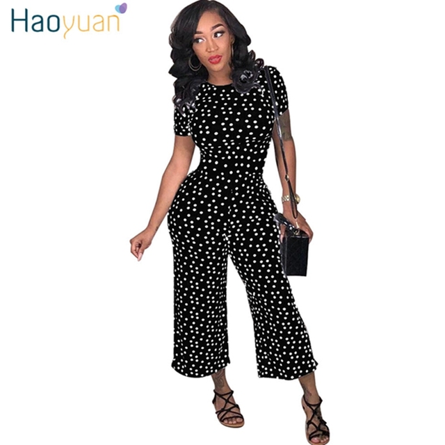 1e8e93ecf9dc2 HAOYUAN Black White Polka Dot Sexy Jumpsuit Plus Size Casual Clothes  Overalls Body Streetwear One Piece Rompers Womens Jumpsuit