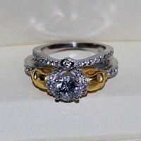 Vecalon Панк Золотой Череп Jewelry 2ct AAAAA Циркон CZ Обручальное кольцо для женщин стерлингового серебра 925 Dropshipping кольцо комплект