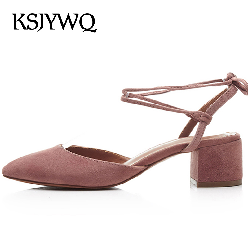 KSJYWQ 2018 Women's Genuine Leather Sandals 5 CM Chunky Heels Summer Style Ankle Strap Pumps Sexy Dress Shoes Box Packing c185-1 ksjywq genuine leather flowers women sandals sexy exposed toe white shoes summer style clip toe shoes woman box packing a2571