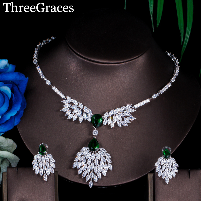 ThreeGraces Famous Brand Design Green Cluster Marquise Cubic Zircon Russian Wedding Engagement Jewelry Set For Women