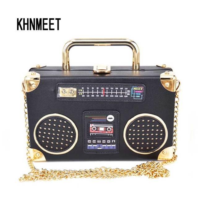 7b22e4a31 Personalidad de la moda negro radio forma bolso de embrague mujeres caja  cadena mini bolsos de