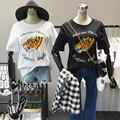 Mujeres Tigre Carácter Cartas Bordado Camisetas de Algodón Sueltos Verano Casual Manga Corta Cuello de O Tee Tops Buena Calidad
