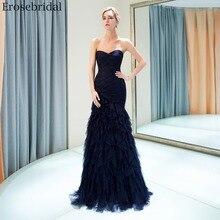 Erosebridal Navy Mermaid Prom Dress Long 2019 Elegant Pleat Gowns Formal Women Evening Wear with Lace Up Back Drop Shipping