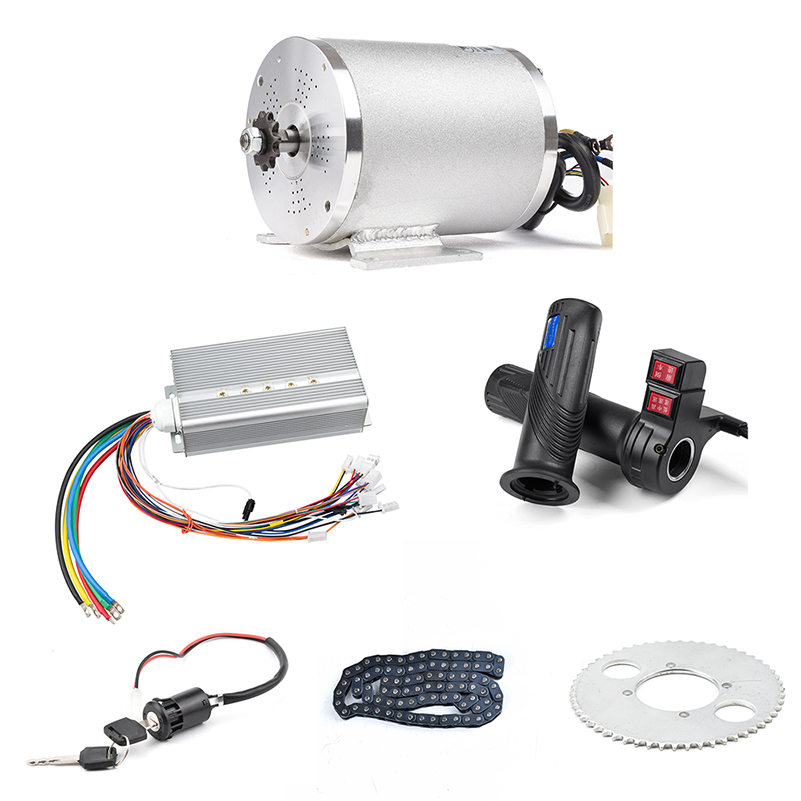 1 conjunto do motor elétrico 72 v 3000 w, controlador do motor sem escova 48 v-72 v 50a, acelerador reverso da torção, jogo do trotinette do fechamento da ignição de potência