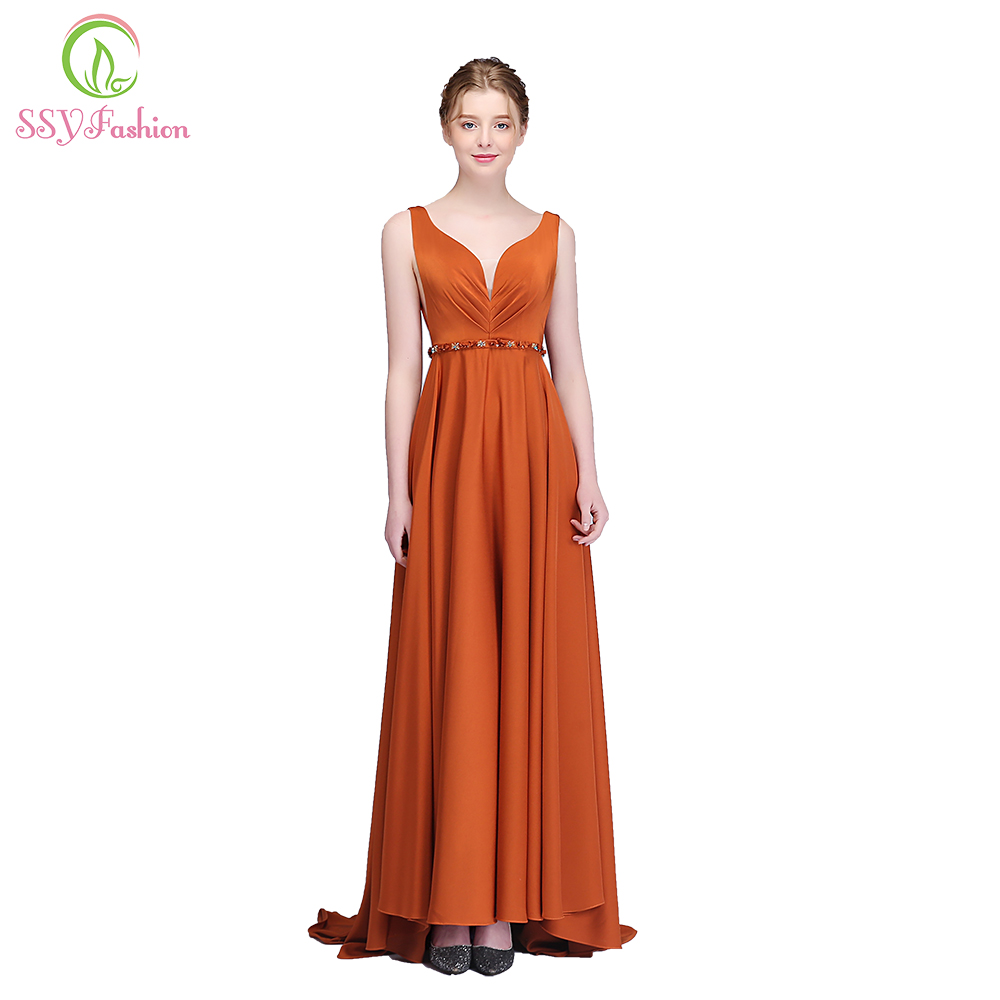 709a1c5649 US $68.0 |Aliexpress.com : Buy SSYFashion New Caramel Colour Evening Dress  Sexy V neck Sleeveless Backless Simple Prom Party Formal Gown Robe De ...