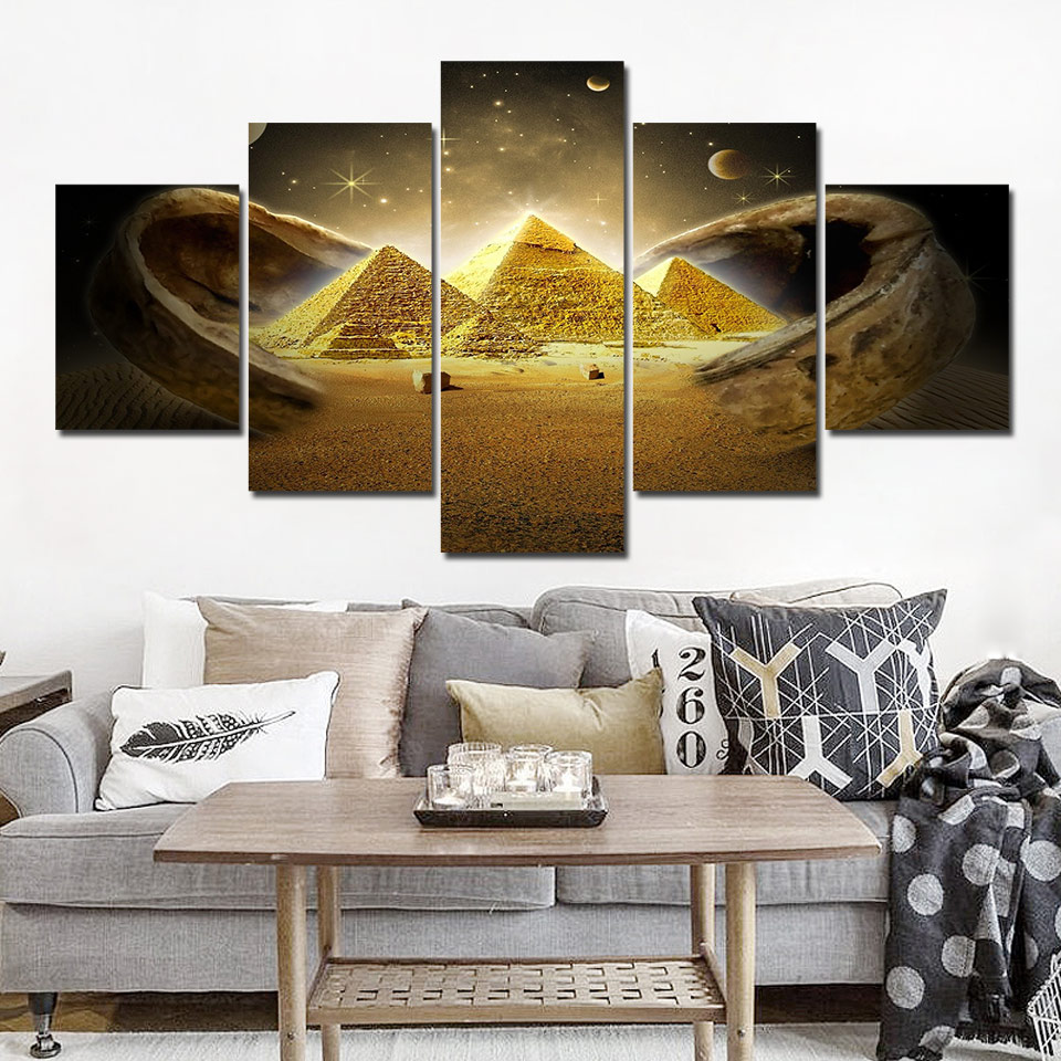 5 Panel Wall Art Egyptian Pyramids Wall Pictures for Living Room Vintage Posters and Prints Painting on Canvas Home Decor
