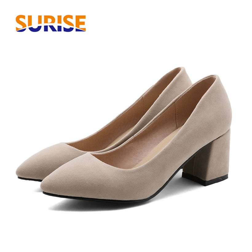 Plus Big Size Spring Autumn High Square Block Heels Women Pumps Flock Pointed Toe Party Office Dress Casual Summer Ladies Shoes new flock high big size 11 12 women shoes wedges pointed toe woman ladies butterfly knot casual spring autumn sweet single shoes