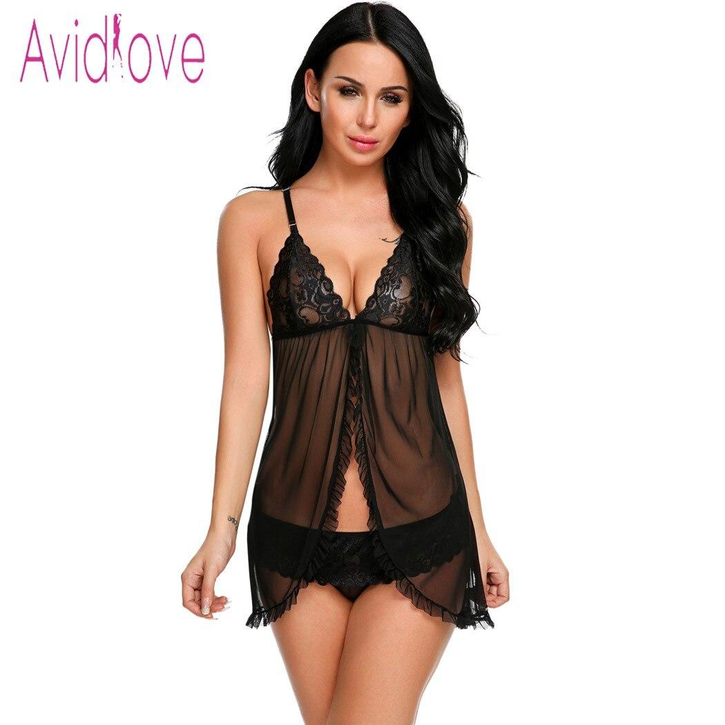 Avidlove Эротическое кружевное белье сексуальное женское белье сексуальное горячие эротическая сорочка платье женские Открыть передний ночь платье мини секс одежда