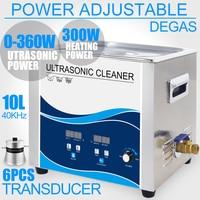 10L Ultrasonic Cleaner Bath Timer Heater 360W Adjustment 40KHZ Lab Dental Hardware Instruments Washer with Degas