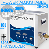 10L Ultrasonic Cleaner Bath Timer Heater 360W Adjustment 40KHZ Lab Dental Hardware Instruments Washer with Degas