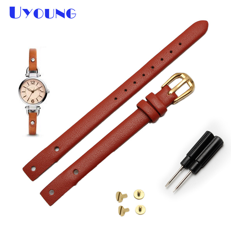 Latest  Genuine Leather Contracted Strap Women Fashion Watchband Small 8mm For ES4340 ES4119 ES4000 Watch Band With Screw