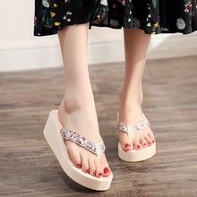 дешево!  2019 Повседневная женская Летняя Комфорт Тапочки Мода Клин Высокий Каблук Женщина Цветы Обувь Женщин �