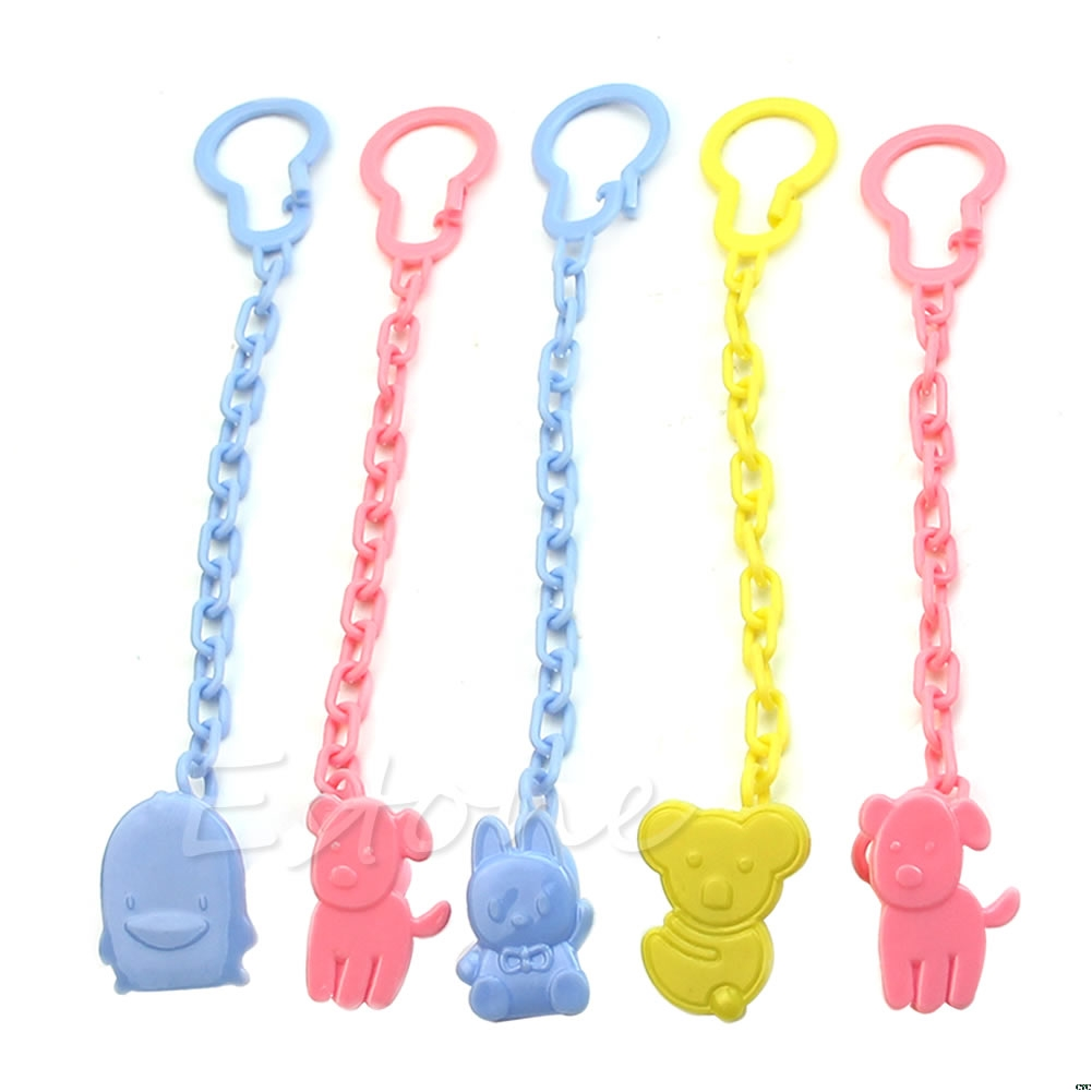 1pc Cute Baby Infant Kids Dummy Pacifier Soother Chain Clips Holder Toddler Toy