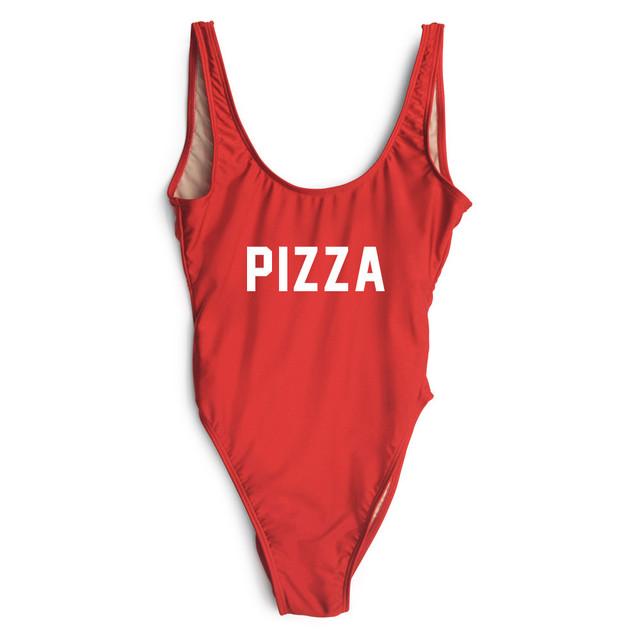 Macacão de Verão 2016 Mais Recente Moda Marca Carta de PIZZA Impressa Macacões Sexy Mulheres Beachwear Playsuits Senhoras Bodysuit Vermelho