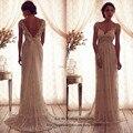 Старинные анна кэмпбелл свадебное платье кружева свадебные платья кап-рукава спинки свадебное платье из бисера Vestido де Noiva 2015