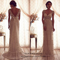 Vendimia Anna Campbell Vestido de boda de encaje vestidos de novia Cap manga Backless Vestido de boda moldeado del Vestido de Noiva 2015