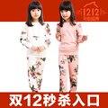 FLOR de Los Niños ropa de invierno y otoño de manga larga de terciopelo engrosamiento deportes suitst-shirt + pantalones twinset 2 unids set girls