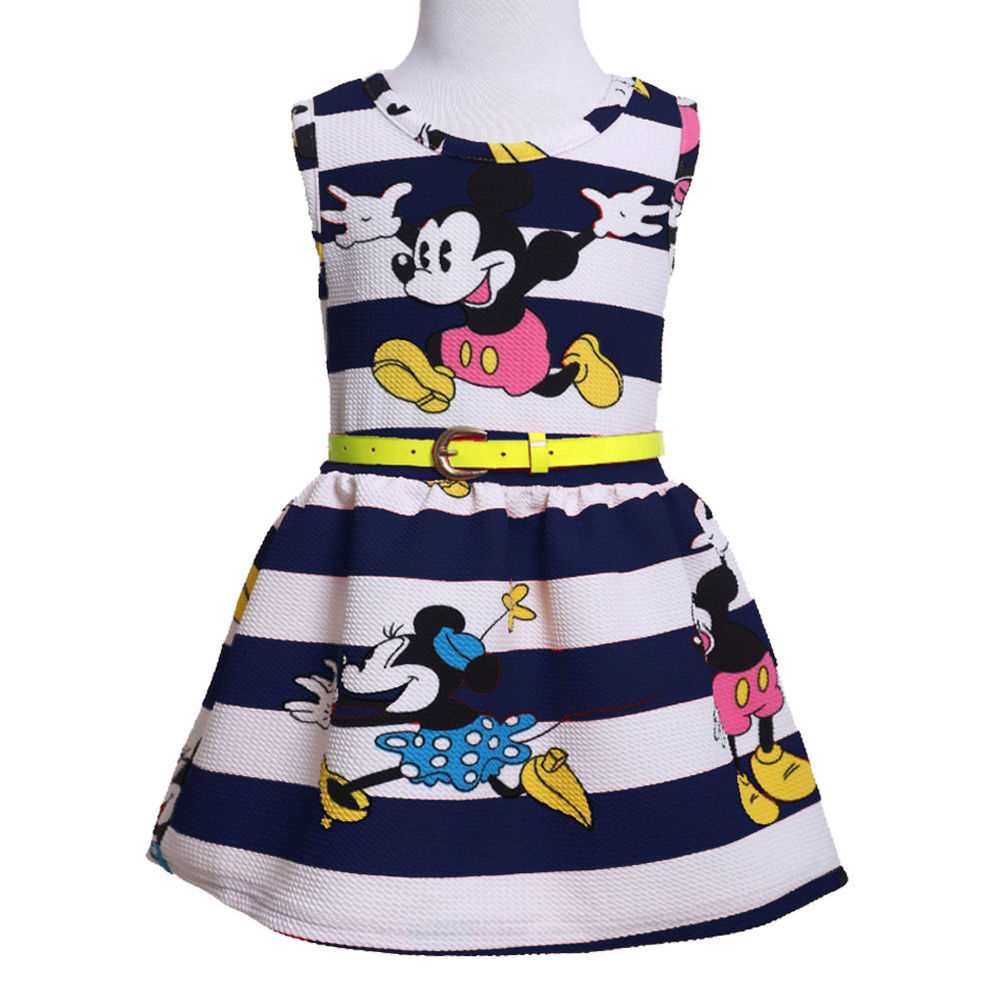2015 Girls Princess Party Cute Cartoon Mouse Stripe Summer Sleeveless Dress Belt 2-7Y