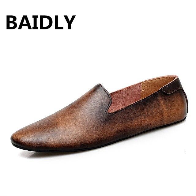 Mới Da Nam Thời Trang Đế Giày Thoải Mái Người Giày Slip On Nam Ngoài Trời Giày Đi Bộ Chia Da Lái Xe Giày