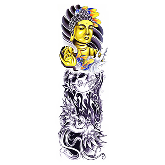 Tattoo Gold Buddha Large Waterproof Body Art Temporary Tattoos