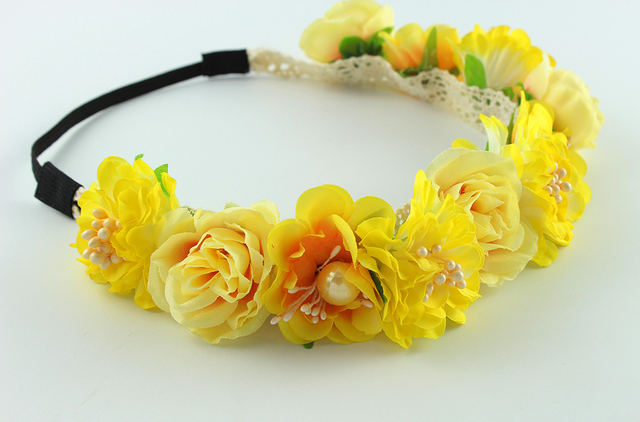 Yellow Small Flower Forehead Hair Beach Wedding Wreath Head Band