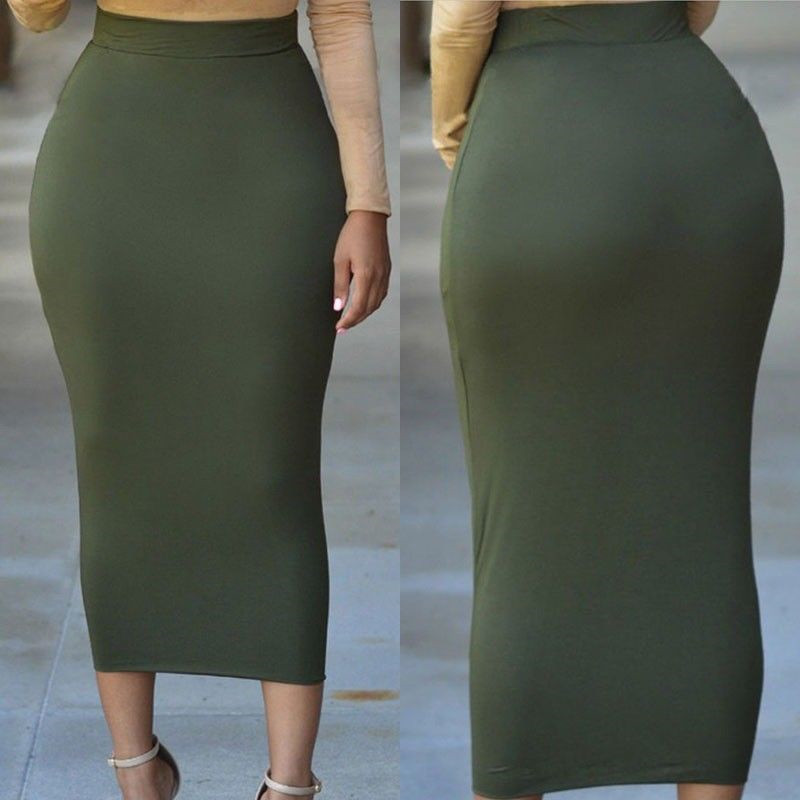 2020 New Arrival Summer Women Sexy Skirt Solid Color Bandge High Waist Pencil Bodycon Knee Length Skirt