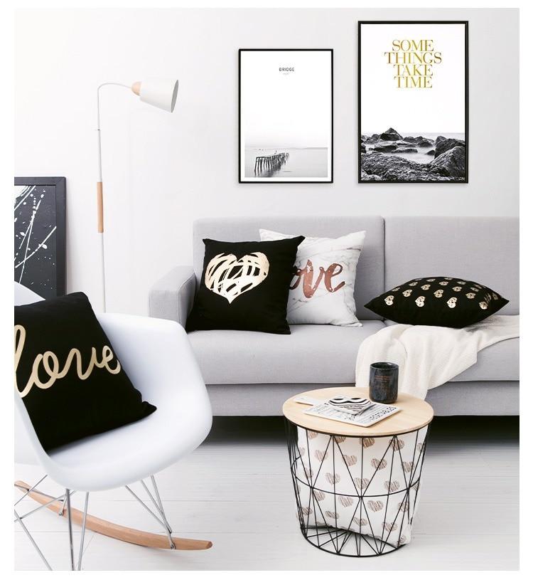 HTB1KyERPHvpK1RjSZPiq6zmwXXam Black Golden Leaves Cushion Brozing Gold Foil Cushion Decorative Pillows Home Decor Throw Pillow Almofadas Decorativas Para Sofa
