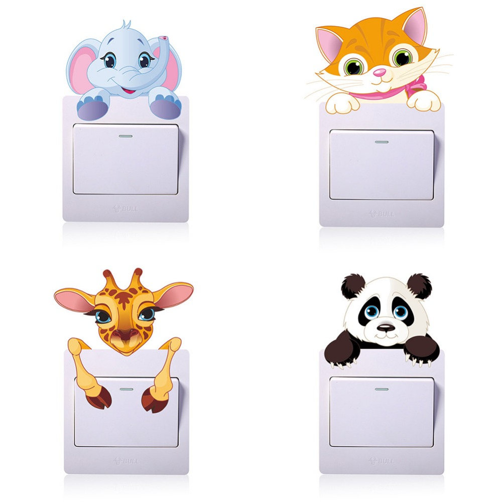 Us 023 40 Offcute Panda Elephant Cat Giraffe Light Switch Stickers For Children Room Baby Nursery Home Cartoon Animals Decal Wall Art Mural In