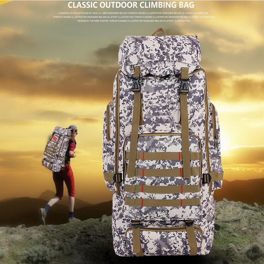 Large capacity 75L outdoor travel camouflage hiking bags, camping, hunting, tactical backpack 60l outdoor hiking backpack large capacity travel bags outdoor camping backpack 4 colors