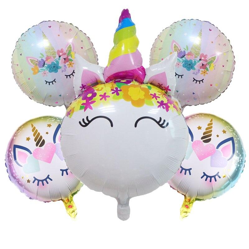 Фольгированные воздушные шары-единороги Мультяшные животные воздушный шар DIY лошадь Globos воздушные шары на день рождения украшения для вече...