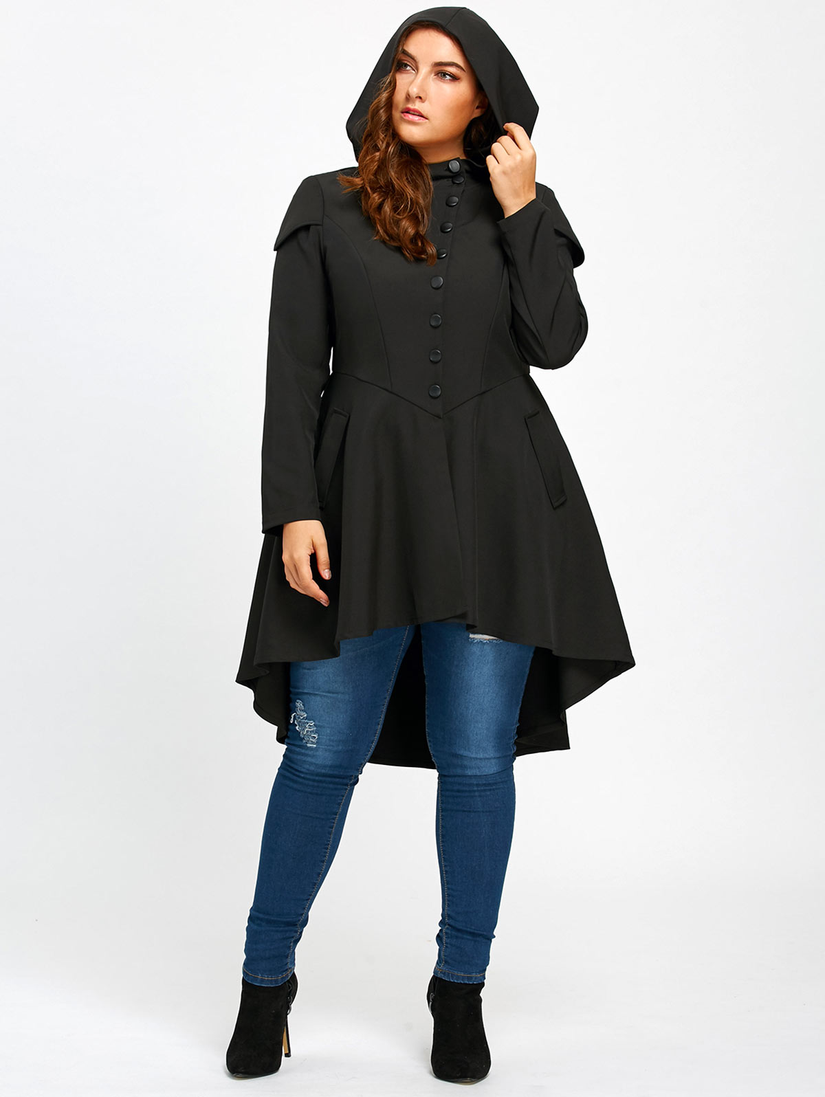 Wipalo Trendy Plus Size Lace Up High Low Hooded Coat Female ...