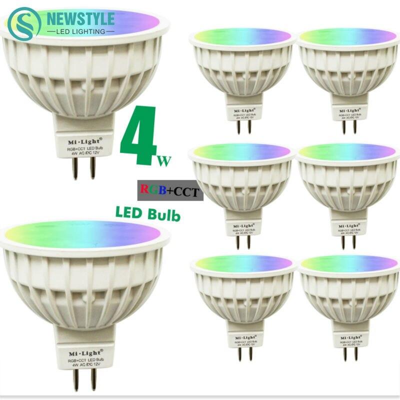 8pcs lot 4W Mi Light LED Bulb Lamp Light Dimmable GU10 220V MR16 DC12V RGB Warm