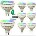 8 unids/lote 4 w mi luz led bombilla lámpara regulable gu10 220 v/MR16 DC12V RGB + Blanco + Blanco Caliente del Proyector de Interior decoración