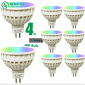 8pcs/lot 4W Mi Light LED Bulb Lamp Light Dimmable GU10 220V / MR16 DC12V RGB + Warm White + White Spotlight Indoor Decoration