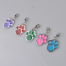 500 Pcs/ Lot Pet Tags Aluminium Mixed Colors Dog Foot Paw Print Pets ID Tag Dog Cat Name Number Phone Engraved Free Shipping
