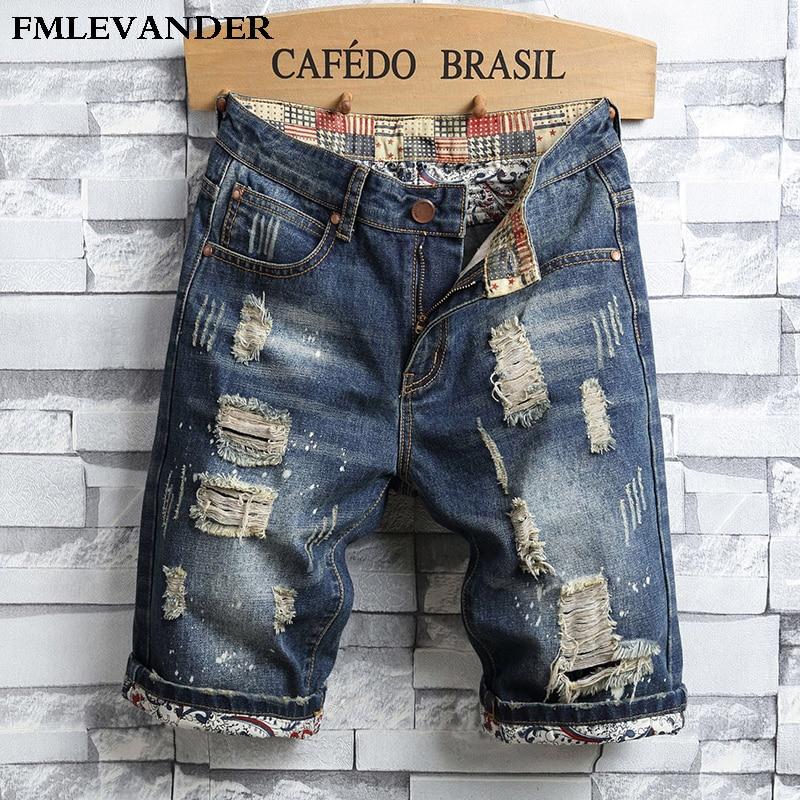 Ripped Denim Knee Length Men Jeans Straight Pantalones Rotos Jeans Hombre Short Jeans Men Jeans Aliexpress