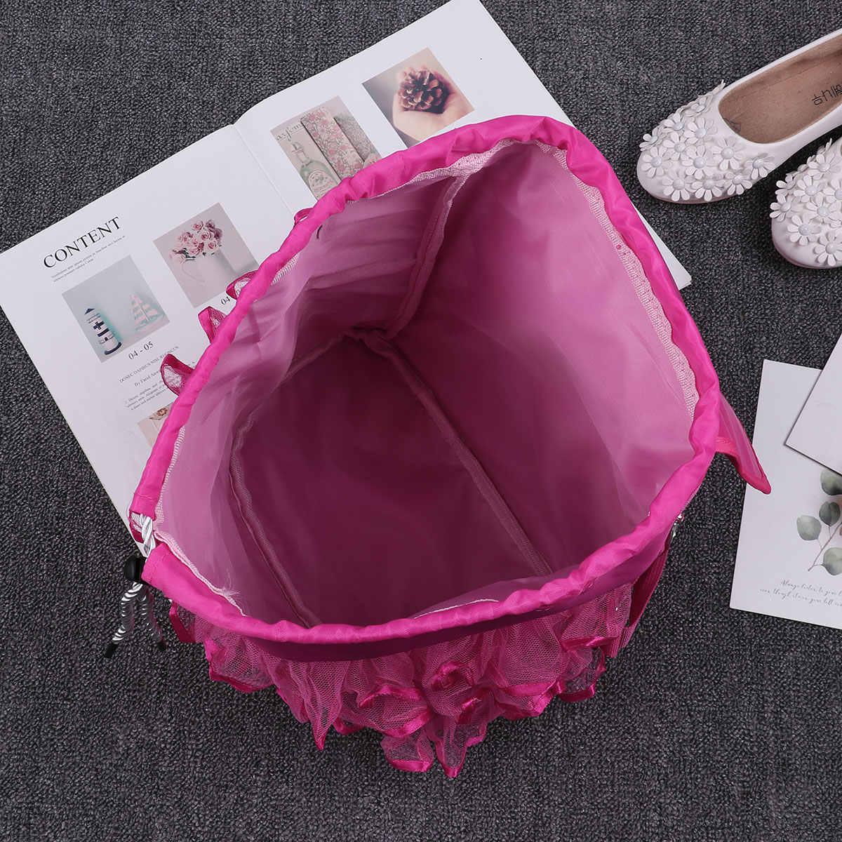Балетные, для маленьких девочек Сумка для дискотеки Drawstring блестящие пайетки балерина носок обуви узор оборками школьников рюкзак сумка