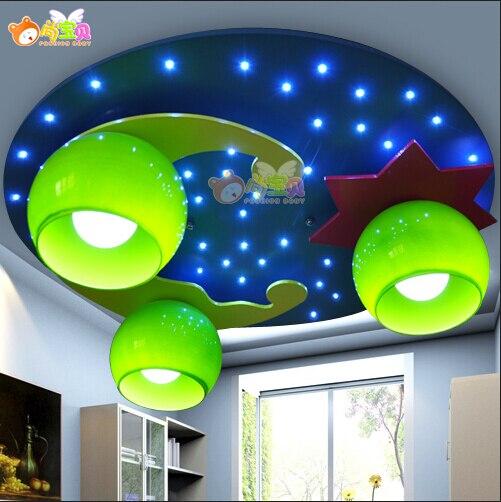 New Modern Cute Blue Moon Star Moon&Star Twinkle Kid Child Children Ceiling Light Lamp Lighting Bedroom Room