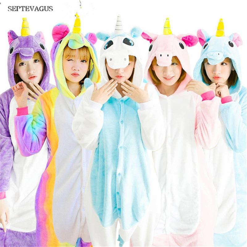 Pink Unicorn Pajamas Sets Flannel Adults Animal Pajamas Winter Nightie Stitch unicornio Sleepwear for Women ;pijamas de animales