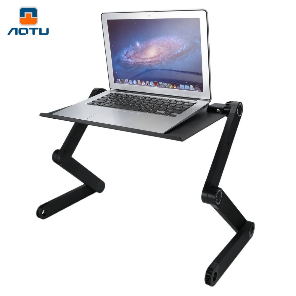 AOTU Portable 360 Degree Adjustable Homdox Computer Desk Foldable Laptop Notebook Lap PC Folding Table Vented Stand Bed Tray leshp adjustable double arm 27 inch monitor holder double arm tablet pc stands 360 degree rotatable computer desk free shipping