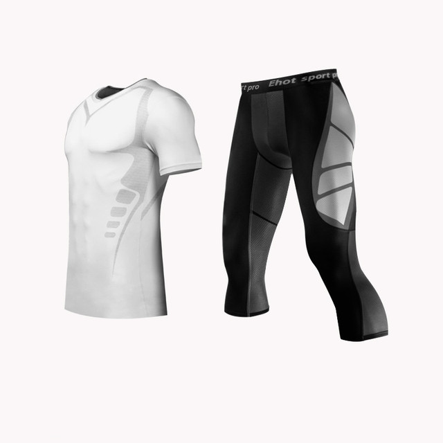 Men MMA Boxing Shorts Compression Pants Rashguard Fitness Long Sleeves Base Layer Skin Tight Men T Shirts