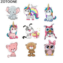 ZOTOONE Cartoon Unicorn Patches Iron on for Childrens T-shirt Dresses A-level Washable Stickers Heat Press Appliqued E