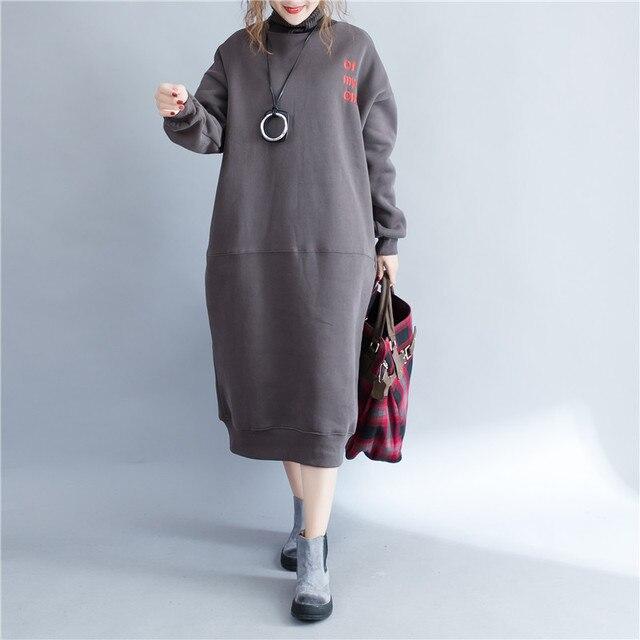 2017 winter women turtleneck long dresses plus size fashion design letters  embroidery women oversized sweatshirt dress 68ba2ae09633
