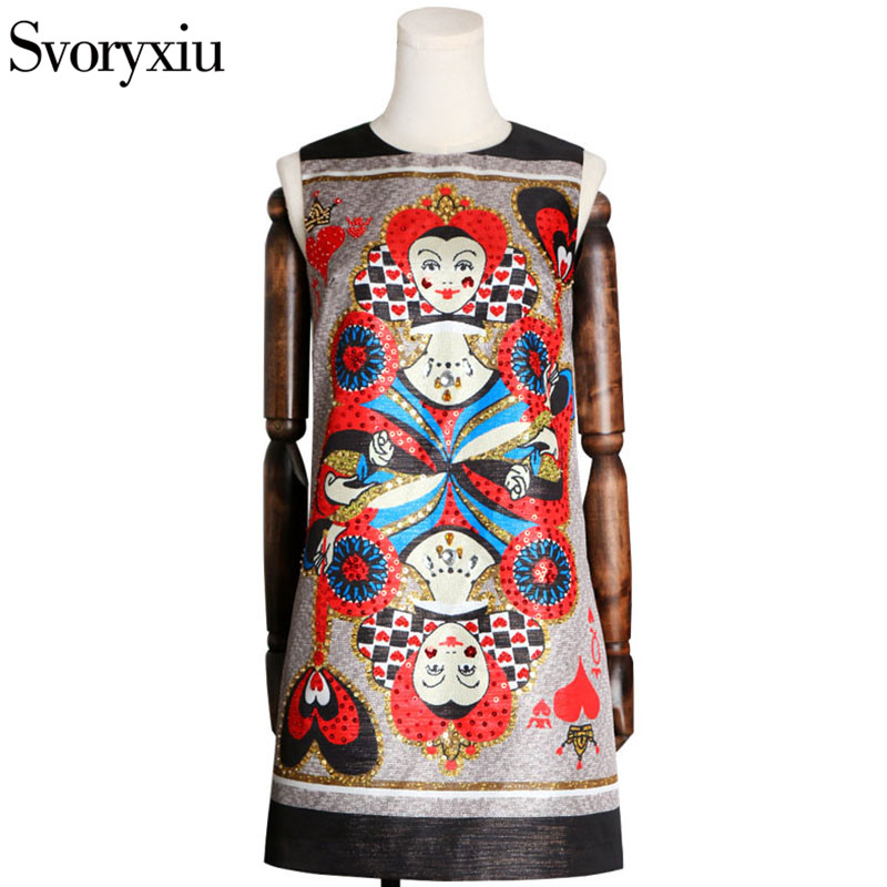 Svoryxiu 2018 Summer Fashion Runway Dress Womens Sleeveless Diamonds Sequined Playing Cards Print Vintage Loose A Line Dress