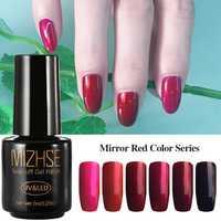 MIZHSE Espelho Red Cor Gel Polonês Gel UV Manicure Gel Com Laca Esmalte Permanente Y LED Líquido Híbrido Design de Unhas para o Prego