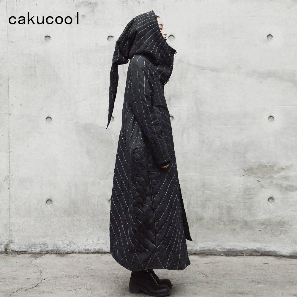 Cakucool Dark Black Women Winter Parka X-Long Cotton Liner Coat Loose Large Wide Witch Hat Design Thin Parkas Outerwear Female