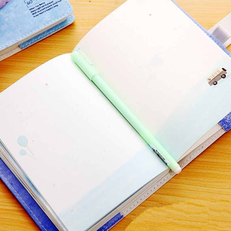 Cute Kawaii Stationery Hand Books Blank Color Pages Soft Leather